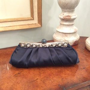 Handbags - Navy evening clutch with stone snap closure
